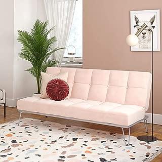 Novogratz Elle, Convertible Sofa Bed and Couch Futon, Pink