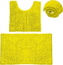 Bathroom Rugs Chenille Bath Mat Set, Soft Plush Non-Skid Shower Rug +Toilet Mat. (NEON Yellow)