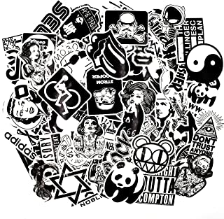Riao-Tech 100pcs Rock Punk Music Band Stickers, Black and White Vintage Laptop Bicycle Luggage Guitar Patches Skateboard Vinyl Sticker