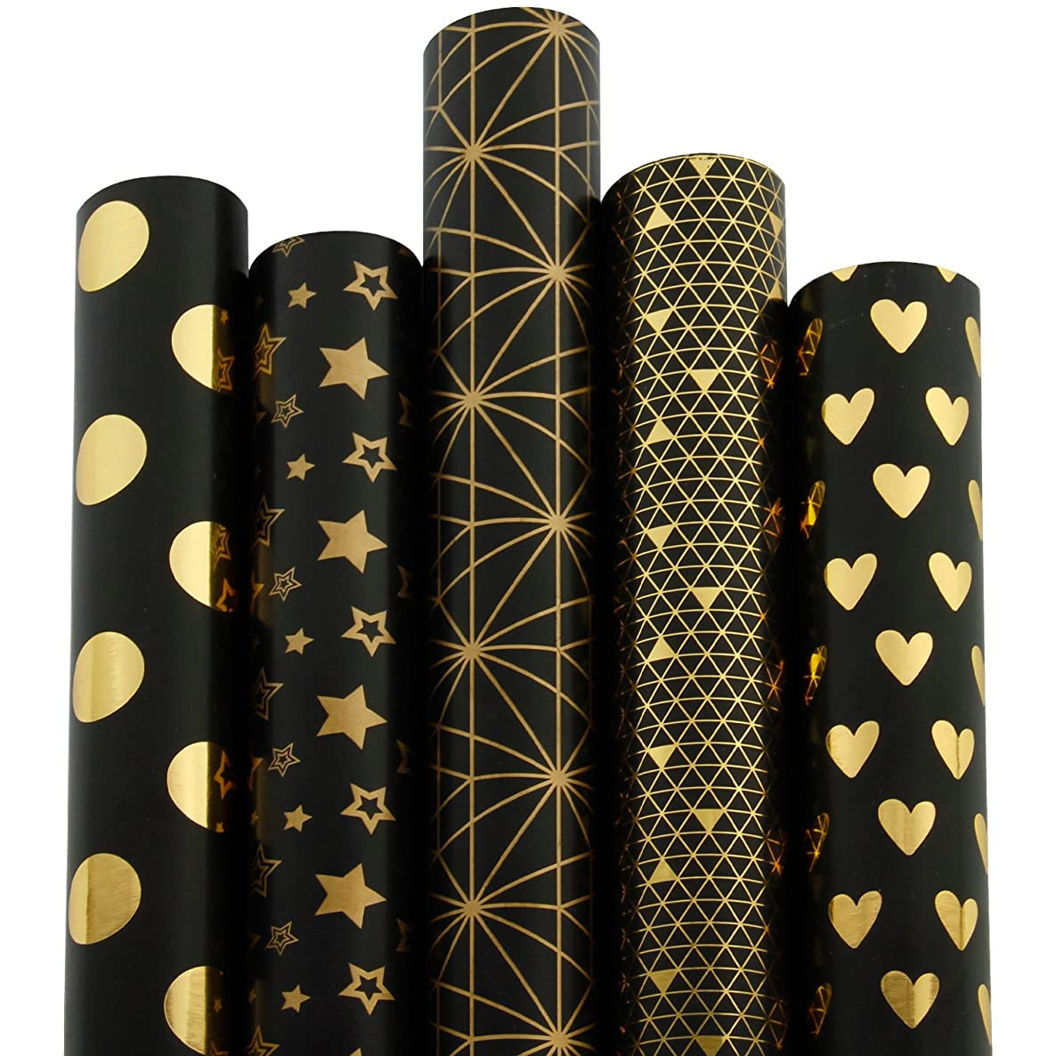 RUSPEPA Gift Wrapping Paper Roll-Black and Gold Foil Pattern for Wedding,Birthdays, Valentines, Christmas-5 Roll-30Inch X 10Feet Per Roll