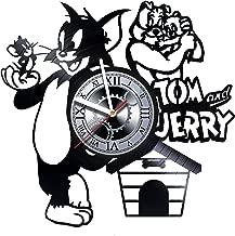 TOM AND JERRY DISNEY - Wall Clock Made of Vinyl Record - Decor Handmade Art Design - Great gifts idea for birthday, wedding, anniversary, women, men, friends, girlfriend boyfriend and teens