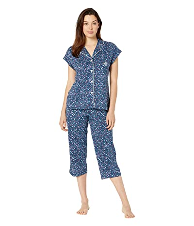 LAUREN Ralph Lauren Short Dolman Sleeve Notch Collar Capri Pants Pajama Set (Navy Print) Women