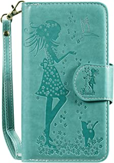 PU Leather Flip Cover Compatible with Samsung Galaxy A50, Elegant green Wallet Case for Samsung Galaxy A50