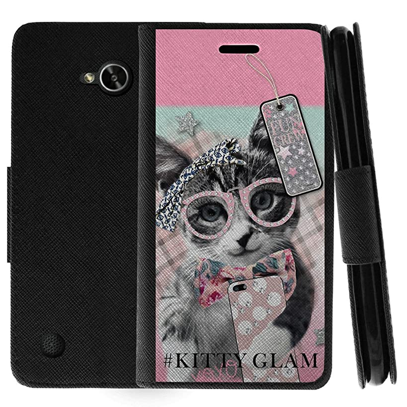 TurtleArmor | Compatible for LG X Power 2 Case | LG Fiesta 2 Case | LG X Charge Case | Flip Kickstand Wallet Case Leather Cover with Card Slots Holder Girl Designs - Hipster Cat