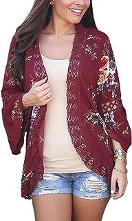 ECOWISH Womens Floral Print Loose Puff Sleeve Kimono...