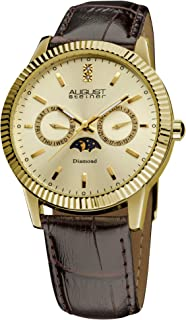 August Steiner Men's Swiss Quartz Analogue Display Diamond Watch with Leather Strap