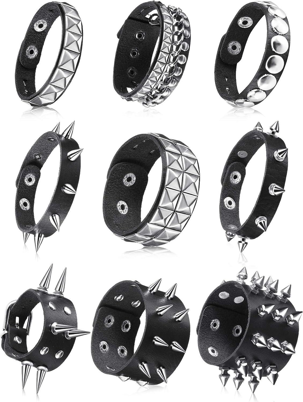 9 Pieces Punk Faux Leather Bracelet Spike Rivet Cuff Wrap Bangle Wide Snap Button Bracelets Metal Studded Wristband for Halloween
