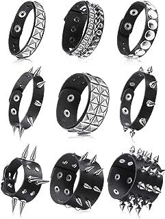 9 Pieces Punk Faux Leather Bracelet Spike Rivet Cuff Wrap Bangle Wide Snap Button Bracelets Metal Studded Wristband for Ha...