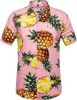 Men's Hawaiian Flower Print Casual Button Down Short Sleeve Shirt