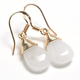Natural Stone Wire Wrap Dangle Drop Earrings Gold Plated 925 Sterling Silver Hook/White Jade Water Drop