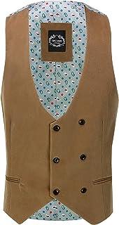 Xposed Mens Soft Corduroy Blazer Coat Vintage Retro Tailored Waistcoat UK[WC-MATTHEW-CREAM-42,Waistcoat-Tan,Chest UK/US 42...