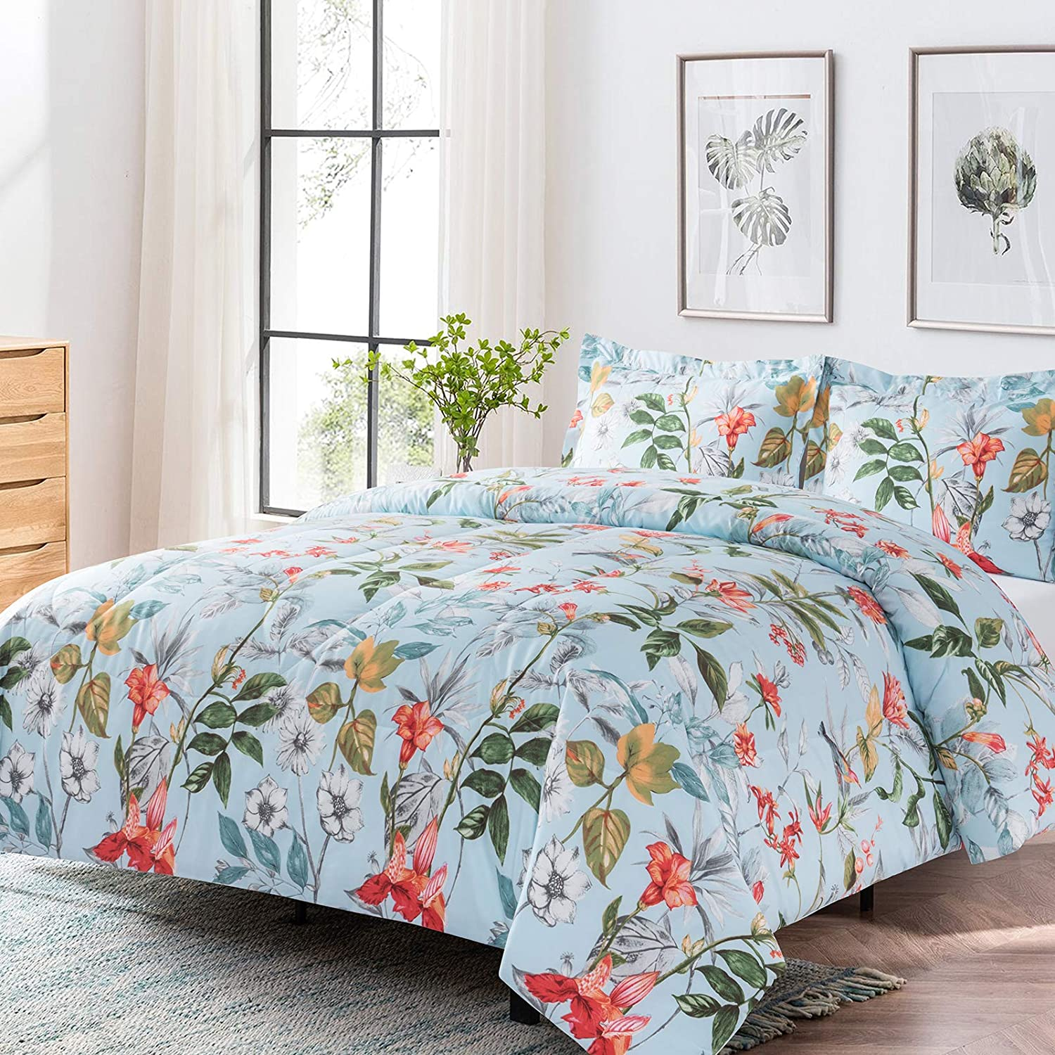 Shatex Queen Sized Comforter Sets 3 Pieces Bed Comforter for Queen Bed– Ultra Soft 100% Microfiber Polyester Comforters for Queen Bed Sets– Flower Pattern Comforter with 2 Pillow Shams
