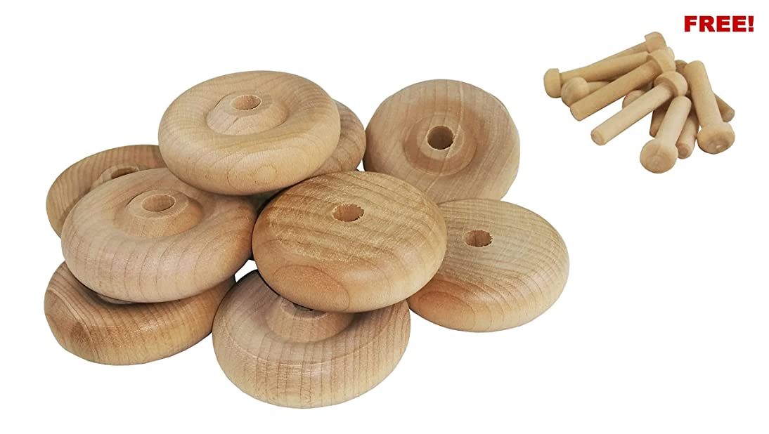 Wood Wheels - 100 Pack with Free Axle Pegs - Made in USA (1.5