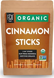 """Organic Korintje Cinnamon Sticks   Perfect for Baking, Cooking & Beverages   100+ Sticks   2 3/4"""" Length   100% Raw From Indonesia   by FGO"""