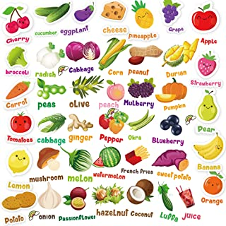 HORIECHALY Stickers for Kids Vegetable and Fruit Stickers, Play and Learn Stickers, Including Watermelon, Oranges, Grapes, Broccoli, Onions
