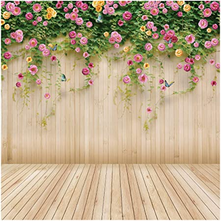 8x8FT Vinyl Backdrop Photographer,Yellow,Wooden Picket Fence Background for Baby Shower Bridal Wedding Studio Photography Pictures