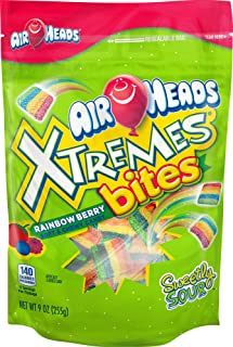 AirHeads Xtremes Bites Sweetly Sour Candy Stand Up Bag, Rainbow Berry, Party, 9 Ounce (Bulk Pack of 12)
