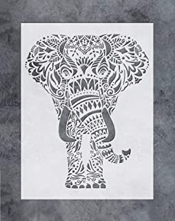 GSS Designs Wall Art Stencil (12x16Inch) - Mandala Elephant Wall Stencil - Vibrant Floral Pattern for Home Wall Decor (SL-059)