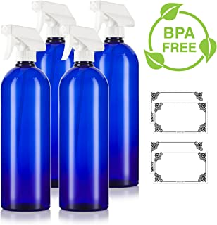 Cobalt Blue 32 oz Large Boston Round PET Bottles (BPA Free) with White Heavy Duty Industrial Trigger Sprayer (4 pack) + Labels