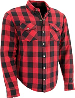 Milwaukee Performance Men's Checkered Flannel Biker Shirt With Aramid (Black/Red, M)