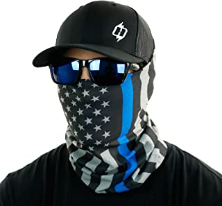 Thin Blue Line & Thin Red Line American Flag Bandana by Hoo-rag - Face Mask & Neck Gaiter Shield - Seamless UV Protection