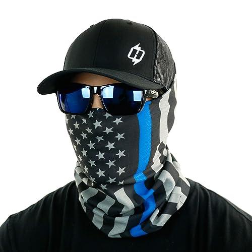 34c46982 Thin Blue Line & Thin Red Line American Flag Bandana by Hoo-rag - Face