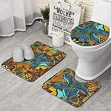Unicorns Farting Mehndi Art Ethnic Colored Floral Art Doodle Non-Slip Bathroom Rugs Cozy Dry Quickly Bathroom Rug Set of 3