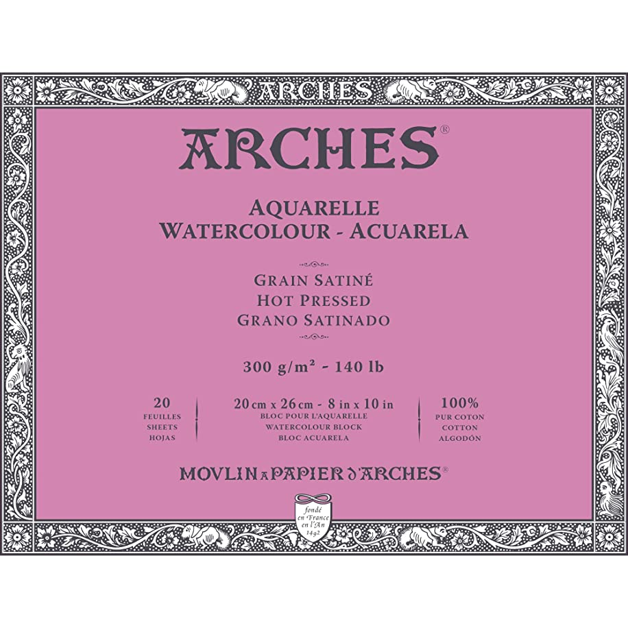 Arches Watercolor Paper Block, Hot Press, 8
