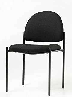 Office Factor Stackable Guest Chair, Fabric Upholstered Waiting Room Chair for Business, Doctor's Office, Lobbies, Extra Seating (Black-Fabric NO ARMS)