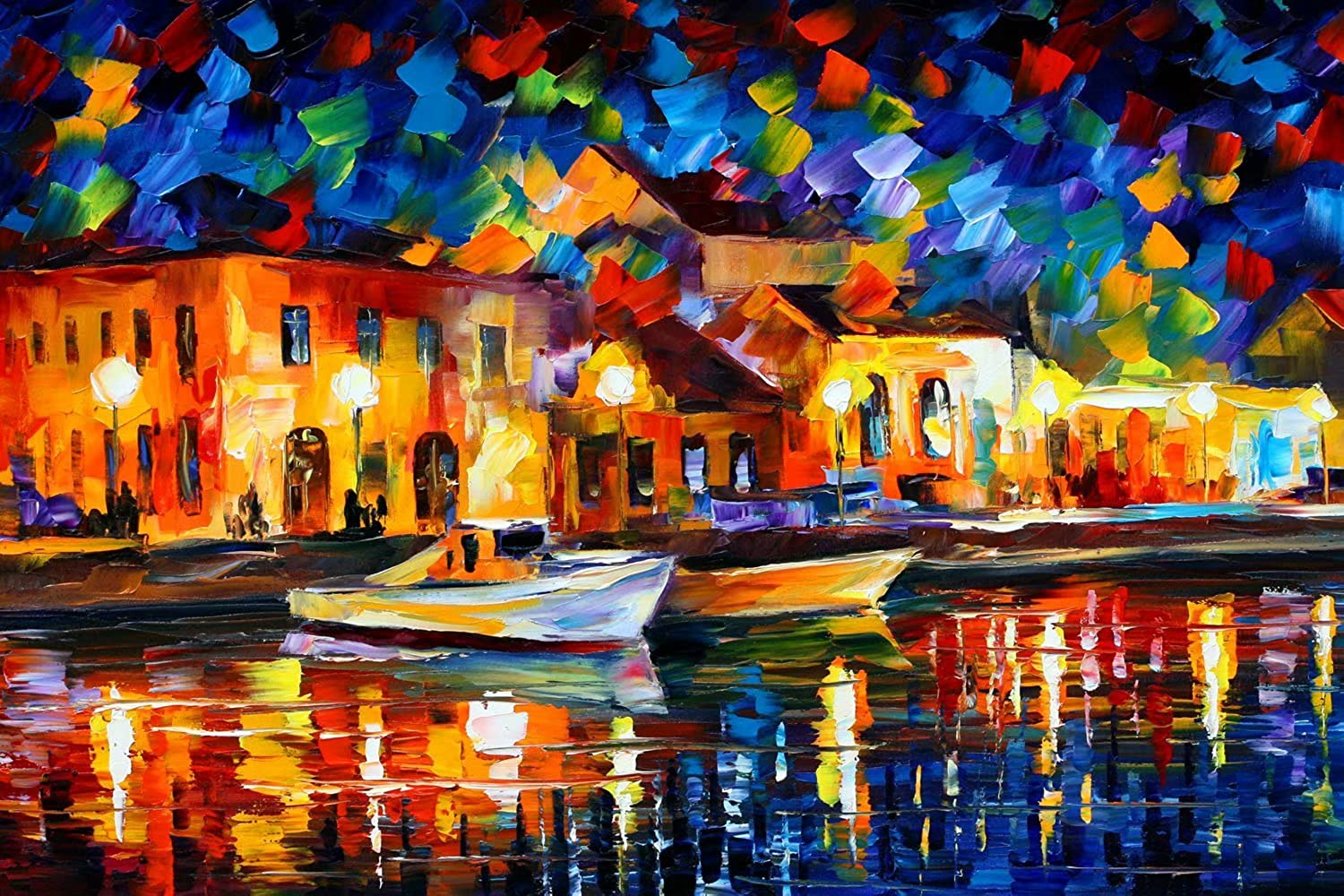 DIY 5D DIY Full Diamond Painting By Numbers Kits River Boats Rhinestone Embroidered Cross Stitch Bright Night Scenery Diamond Mosaic Embroidery Wall Decor Craft