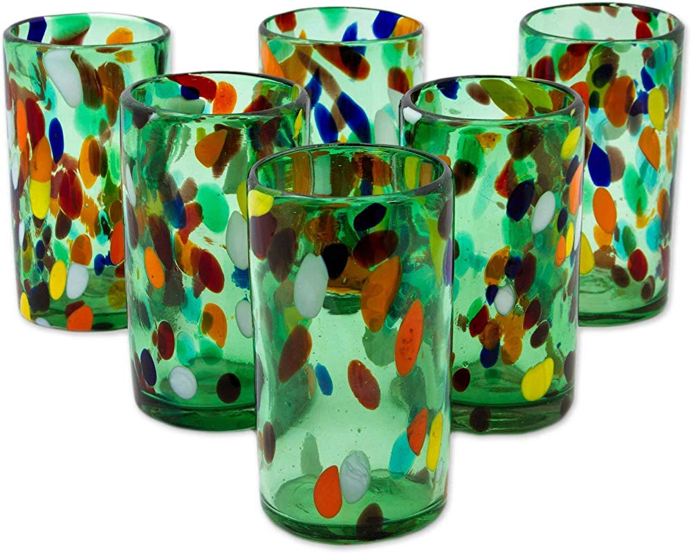 NOVICA Hand Blown Multicolor Eco Friendly Glass Tumblers 16 Oz Bold Lemon Fiesta Set Of 6