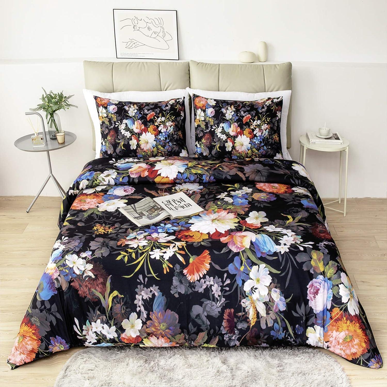 Japan's largest assortment Argstar 3 Pcs Queen Floral Duvet 3D Fl Cover Limited time cheap sale Luxuriant Colorful