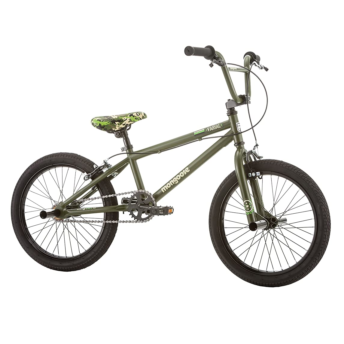 Mongoose Varial 18-Inch Junior Freestyle BMX Bicycle, Army Green