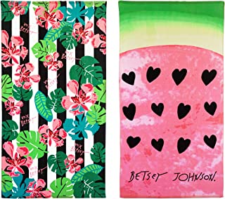 Betsey Johnson Tropical Life Watermelon Beach Towel Set, 68 x 36, Multicolored