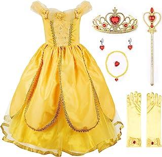 Niña Princesa Belle Disfraz Tul Fiesta Trajes Vestido