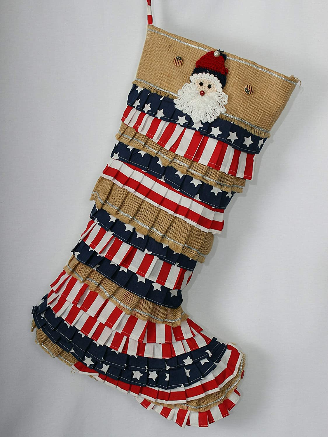 Ruffle Christmas Stocking Directly managed store Red White Max 55% OFF Patriot
