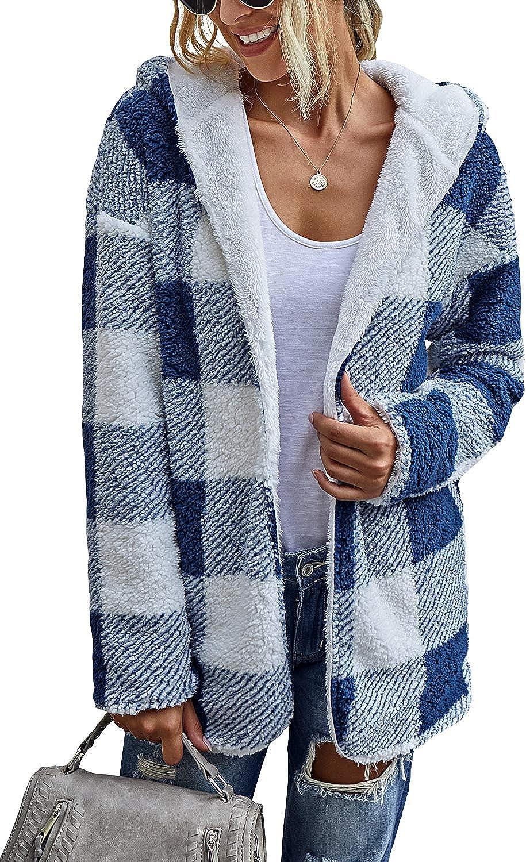 ReachMe Womens Open Front Sherpa Cardigan Reversible Plaid Sherpa Hoodie Fuzzy Fleece Jacket Coat with Hood
