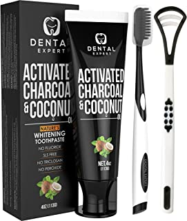 Dental Expert Activated Charcoal Teeth Whitening Toothpaste – Destroys Bad Breath..