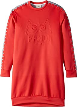 Fendi Kids - Long Sleeve Dress w/ Logo Design on Front (Big Kids)