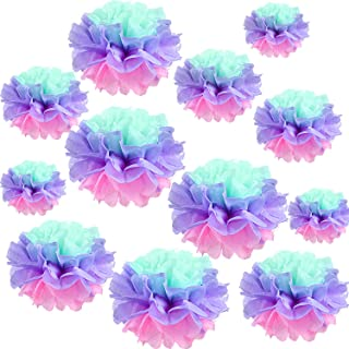 Gejoy 12 Pieces Unicorn Paper Flowers Tissue Paper Flower Chrysanth Flowers DIY Crafting for Wedding Backdrop Nursery Wall Decoration