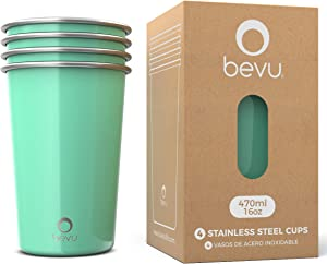 Bevu FIESTA Stainless Steel Drinking Cups Set 16oz / 470ml (4 Pack Large Mint Green Glasses)   4 Stackable Metal Cups   Premium Drinking Glasses for Kids, Adults, Camping, Milkshakes and Parties