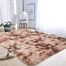 Noahas Abstract Shaggy Rug for Bedroom Ultra Soft Fluffy Carpets for Kids Nursery Teens Room Girls Boys Thick Accent Rugs Home Bedrooms Floor Decorative, 4 ft x 5.3 ft, Brown