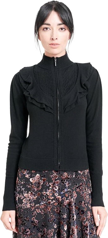 Nanette Lepore Ruffle Zip Front Cardigan Sweater Black Sz M