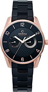 Obaku Men's Analog-Quartz Watch with Stainless-Steel Strap, Black, 20 (Model: V171GMVBMB)