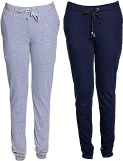 Vimal Grey Melange & Navy Blue Cotton Blend Trackpant for Women (Pack of 2)