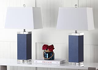 Safavieh Lighting Collection Deco Leather Navy 25.5-inch Table Lamp (Set of 2)