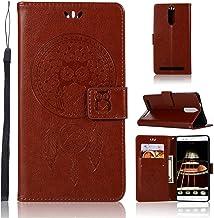 pinlu® Funda para Lenovo Vibe K5 Note Precioso Flip Billetera Carcasa PU Leather con Ranuras de Soporte Función Cierre Magnético Diseño Búho Patrón Marrón