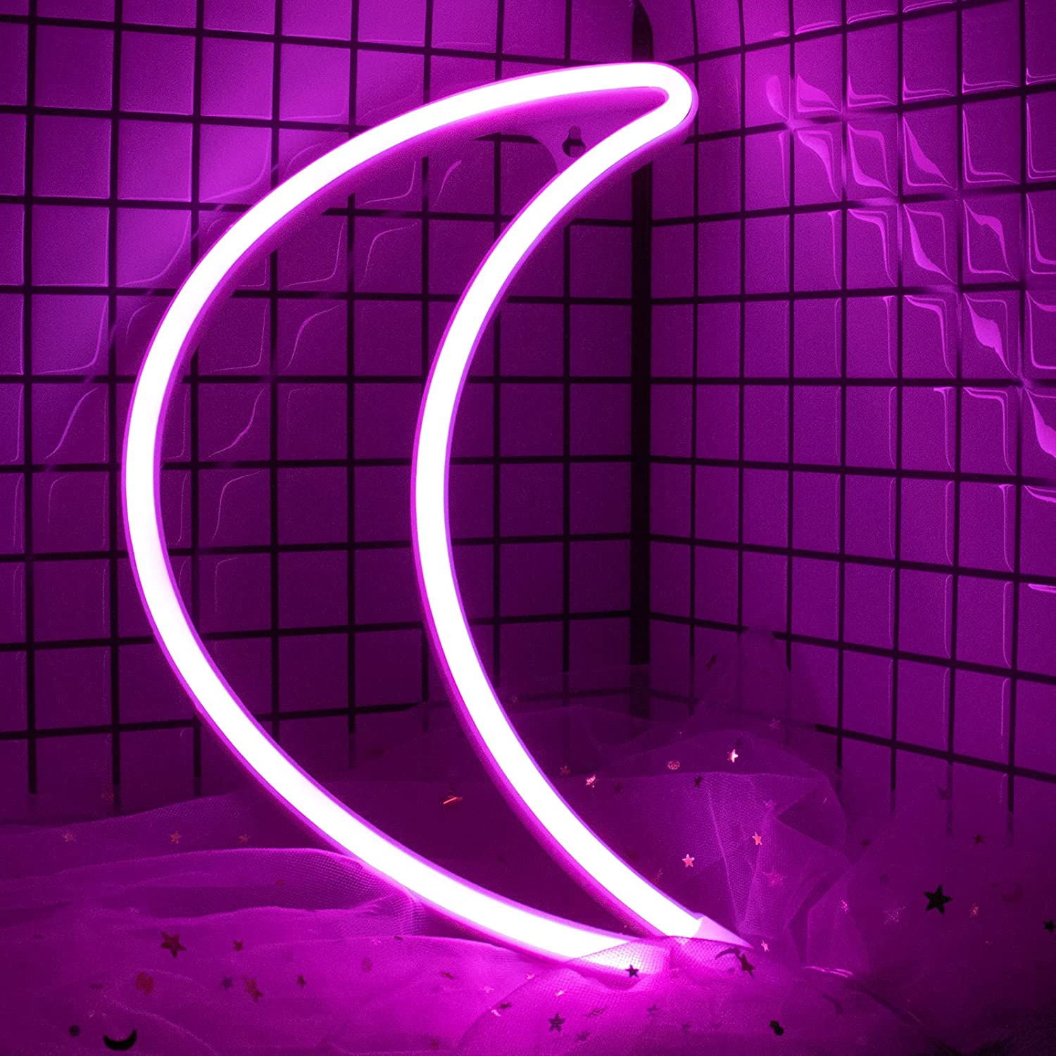Moon Neon Signs Lights for Wall Decor, USB/Battery LED Night Light for Bedroom, Decorative Neon Sign Light for Bedroom, Valentine's Day, Birthday Party, Living Room, Girls, Kids Room (Pink)