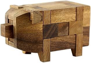 NOVICA Light Brown Handmade Raintree Wood Pig Puzzle Game, 'Piggy'