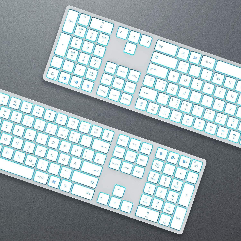 multi-appareils clavier sans fil ultra fin avec 3 Bluetooth rechargeable Full Size QWERTZ Clavier sans fil pour Mac iMac iPad Jelly Comb Clavier Bluetooth r/étro/éclair/é Argent Mackbook